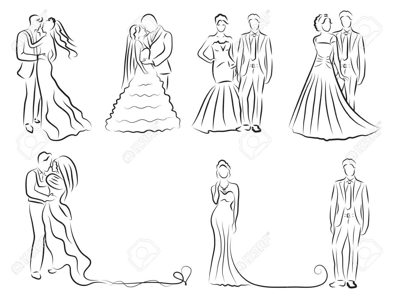 1300x987 Silhouette Of Bride And Groom Set, Newlyweds Sketch, Hand Drawing