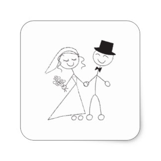 324x324 Stick Figure Bride And Groom Stickers Amp Labels Zazzle Uk