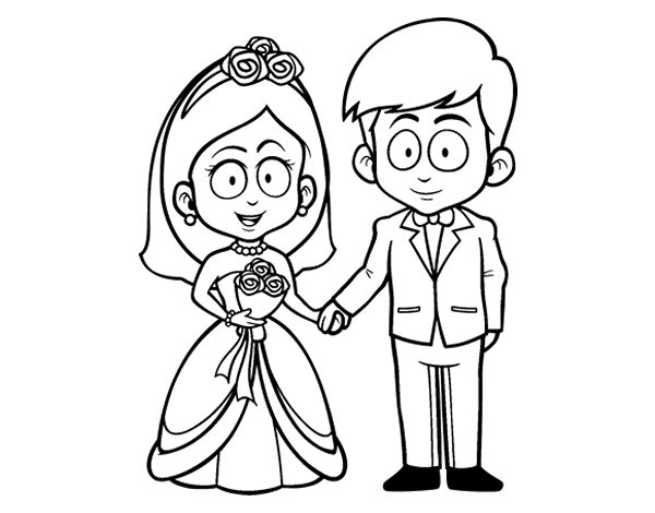 600x470 The Bride And Groom. Coloring Page