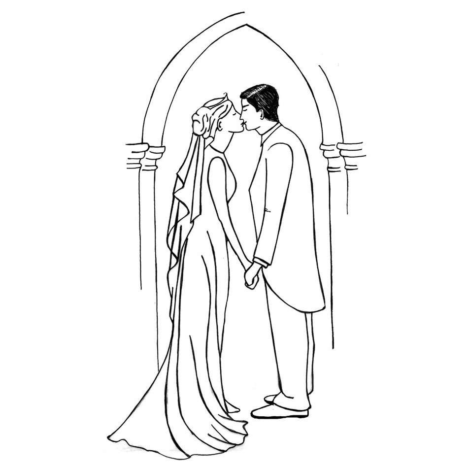 950x950 Halloween Bride And Groom How Draw Cartoon Bride And Groom Step