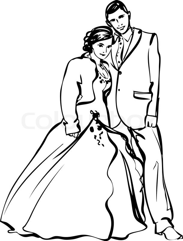 610x800 Black And White Picture The Bride And Groom Stock Vector Colourbox