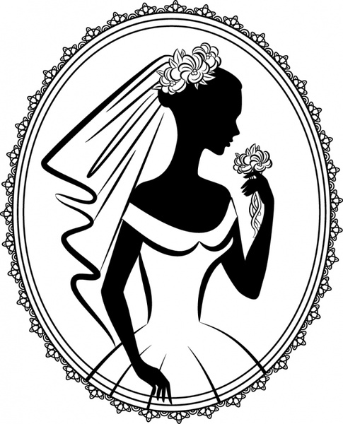 485x600 Bride Silhouette Vector Line Drawing Free Vector In Encapsulated