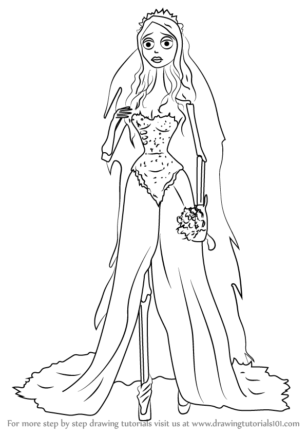 598x844 Learn How To Draw Emily From Corpse Bride (Corpse Bride) Step By