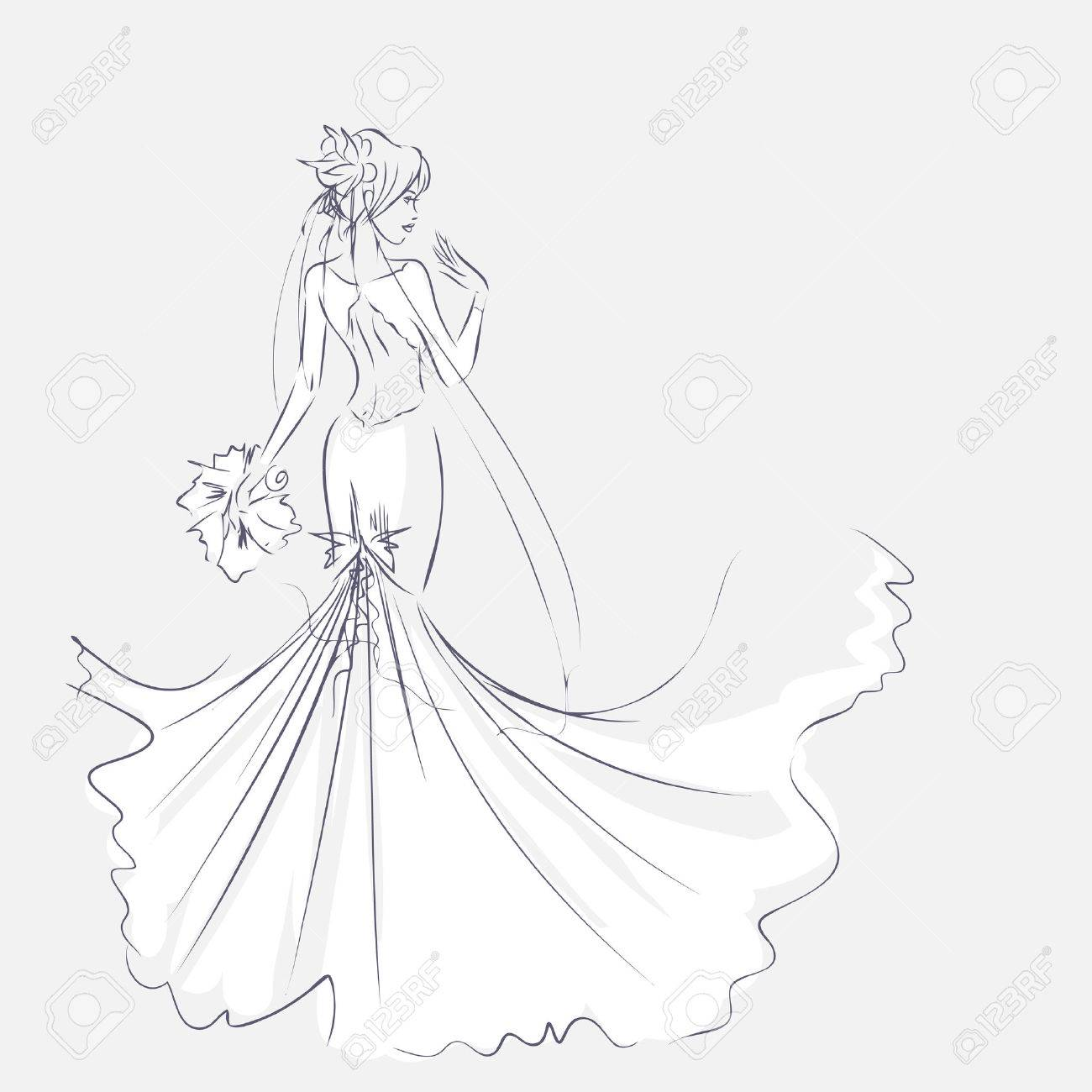 1300x1300 Art Sketch Of Elegant Young Bride With The Bride's Bouquet