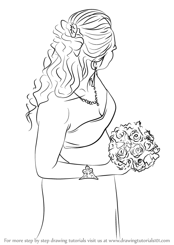 598x844 Learn How To Draw A Beautiful Bride (Girls) Step By Step Drawing