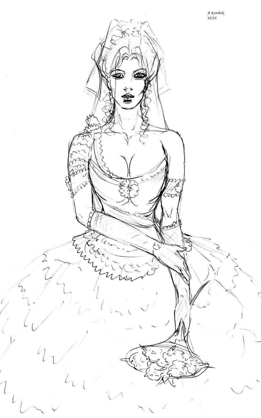 900x1441 Sketch Of A Bride By Andrekosslick