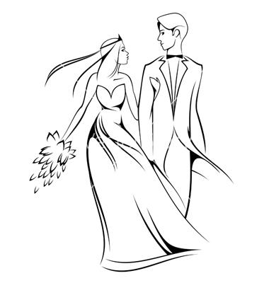 380x400 Bride And Groom Sketch Clipart