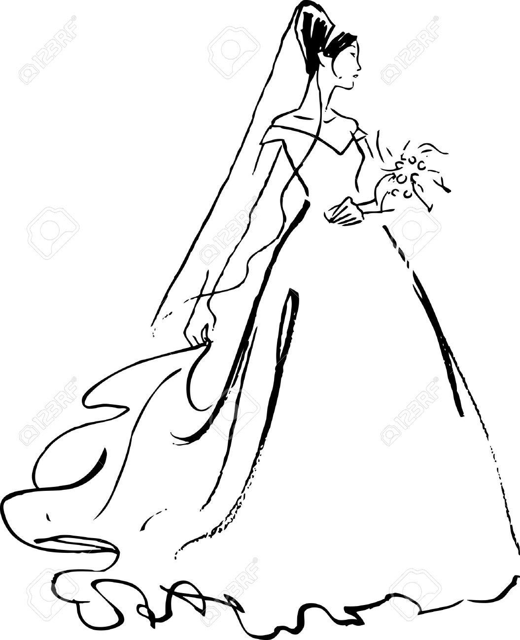 1055x1300 Bride Drawing Black Over White Royalty Free Cliparts, Vectors,