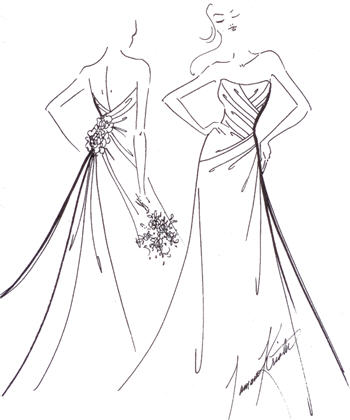 350x420 Bride Gown Drawing Compass Center