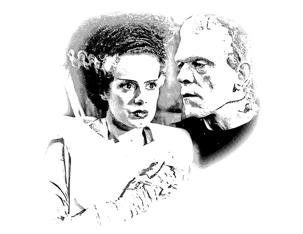 1000x773 Frankenstein's Monster And Bride Of Frankenstein. Spooky Halloween