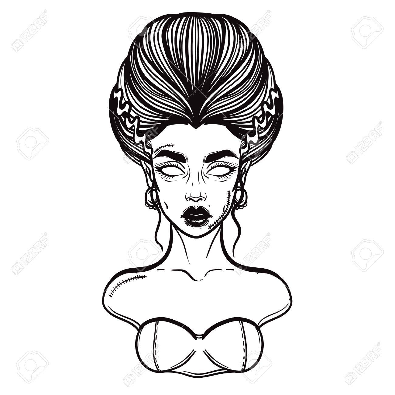 1300x1300 The Bride Of Frankenstein Girl Line Art. Hand Drawn Vector