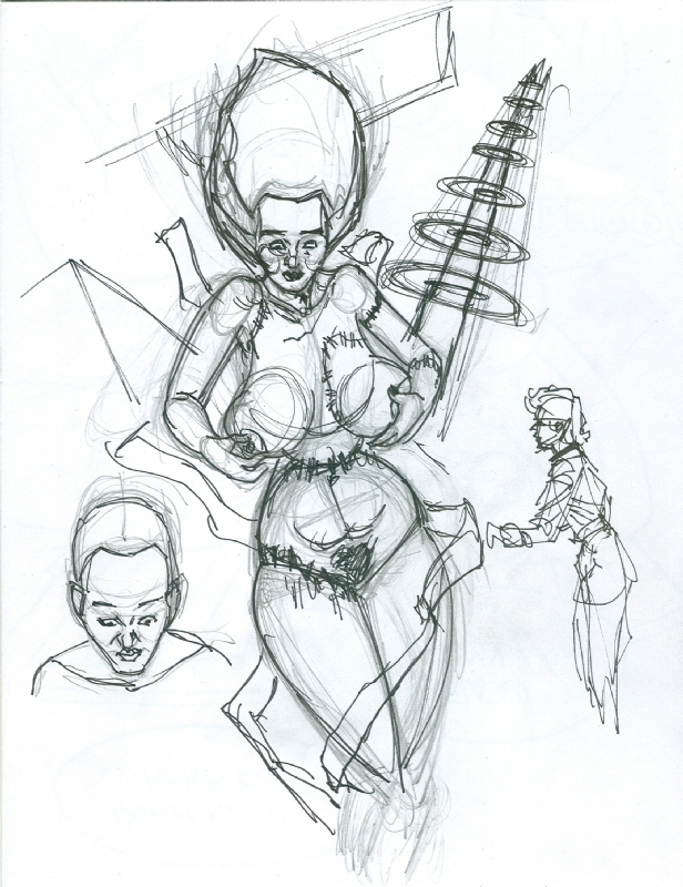 616x800 The Bride Of Frankenstein (Sketch), In John Shepherd's Burpo Aka