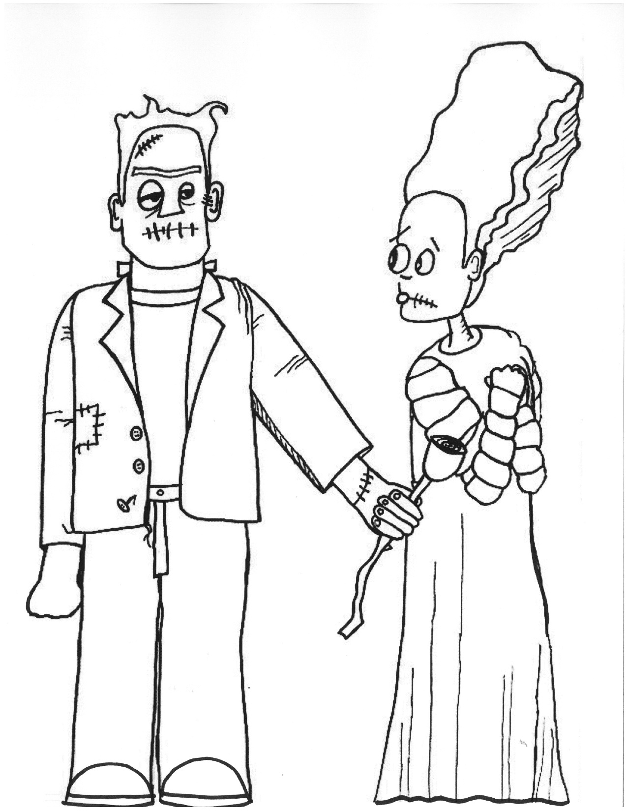 1275x1651 Bride Of Frankenstein Coloring Pages