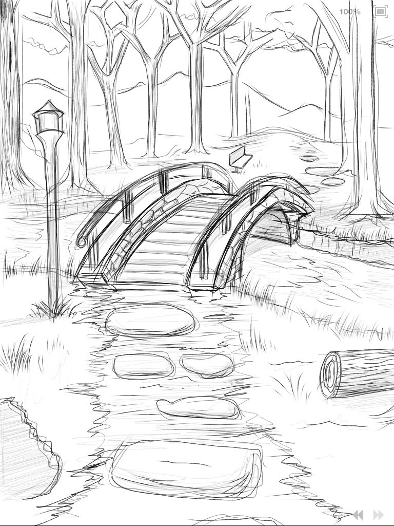 768x1024 Drawing Of A Bridge Over Water