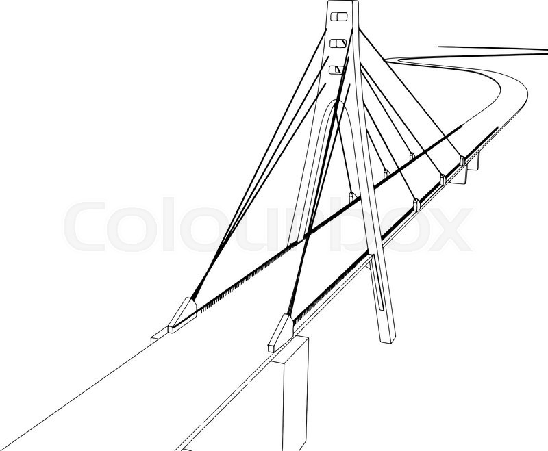 800x659 Vector Illustration Hand Drawn Bridge On The Sea 4 Stock Vector