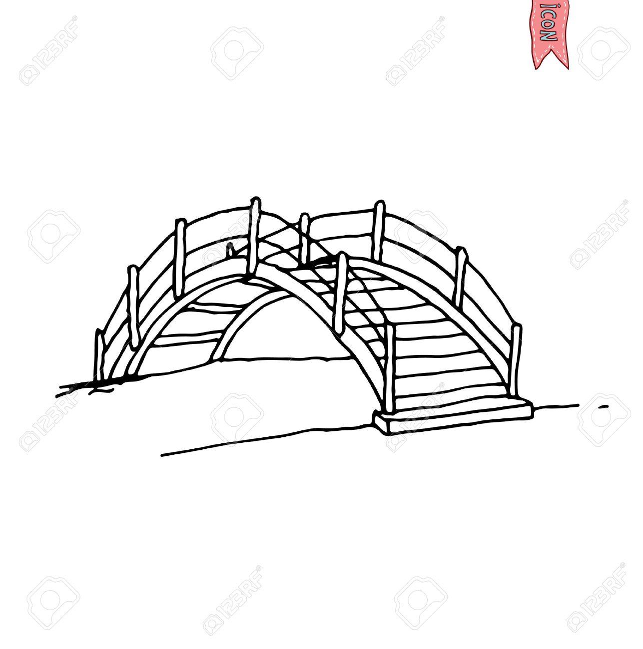 1287x1300 Wooden Arch Bridge, Vector Illustration. Royalty Free Cliparts