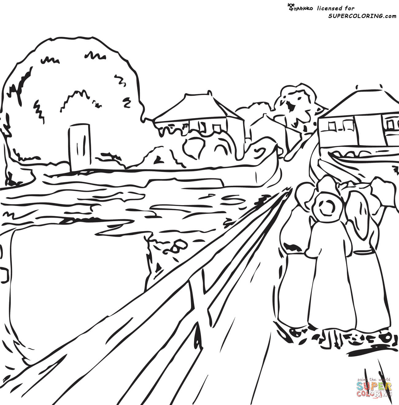 1300x1319 Girls On A Bridge By Edvard Munch Coloring Page Free Printable