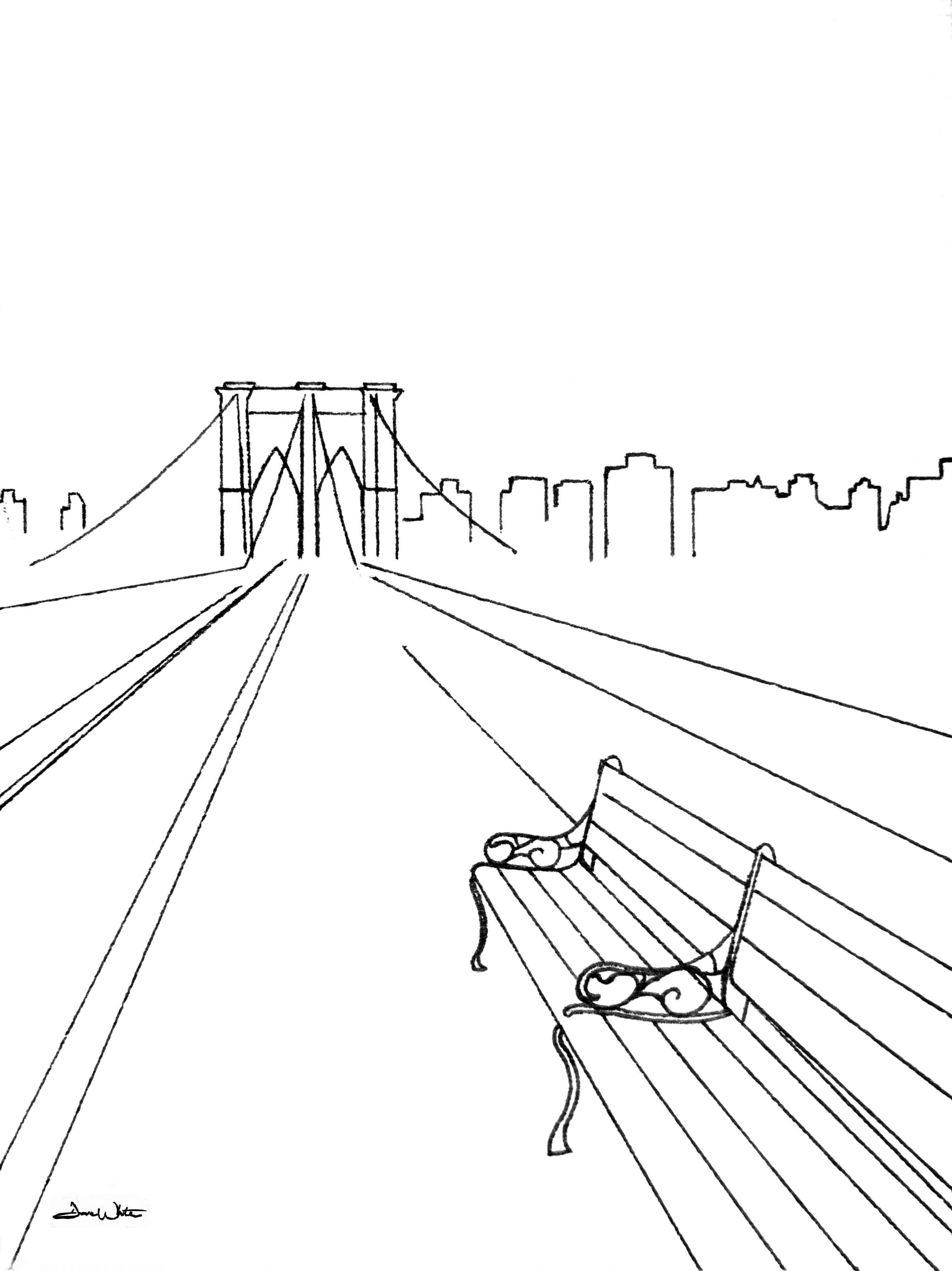 2865x3826 Take Our Time Brooklyn Bridge Ink Drawing Fine Artist