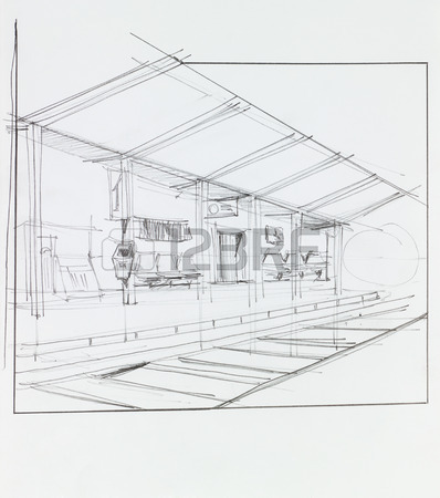 398x450 Perspective View Of Village And Railway On Bridge, Drawn By Hand