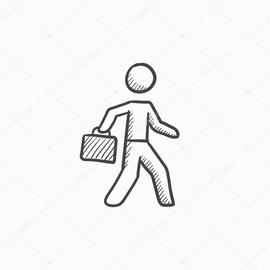 1024x1024 Businessman Walking With Briefcase Sketch Icon. Stock Vector