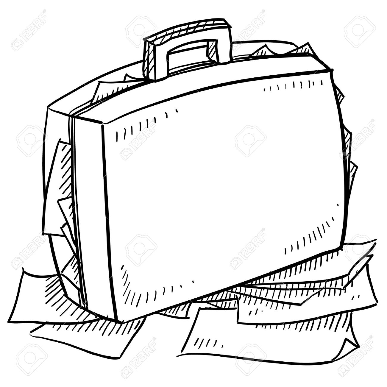 1300x1300 Doodle Style Office Briefcase Stuffed With Papers Sketch In Vector