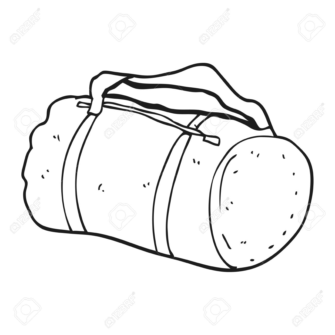 1300x1300 Freehand Drawn Black And White Cartoon Sports Bag Royalty Free