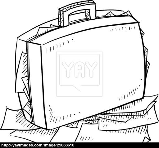 512x479 Overstuffed Briefcase Sketch Vector