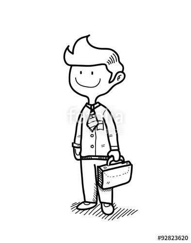 394x500 Business Man, Hand Drawn Vector Doodle Illustration