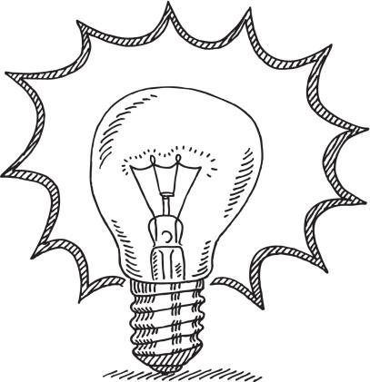 407x421 Bright Idea Light Bulb Drawing Art Light Bulb