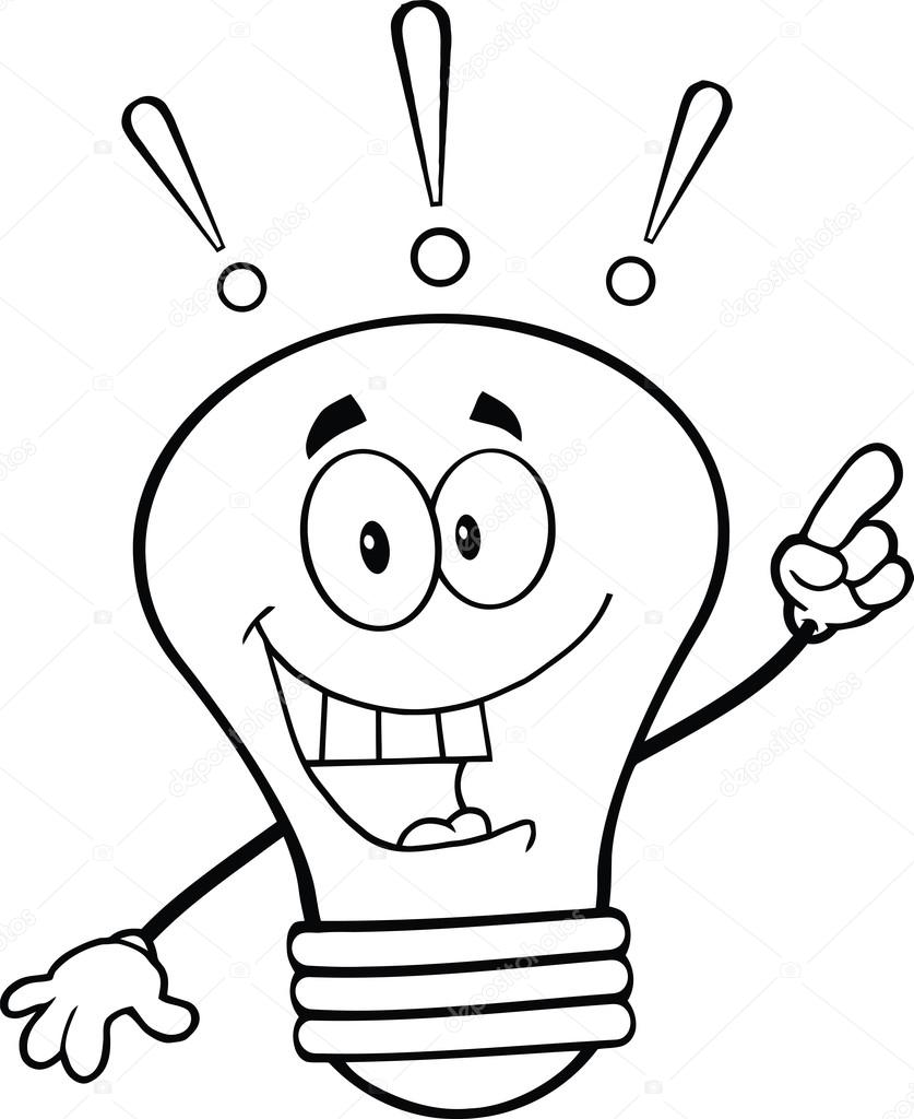 837x1024 Outlined Light Bulb Cartoon Character With A Bright Idea Stock