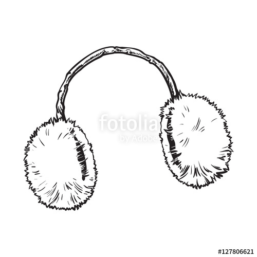 500x500 Bright Fluffy Fur Ear Muffs, Sketch Style Vector Illustrations