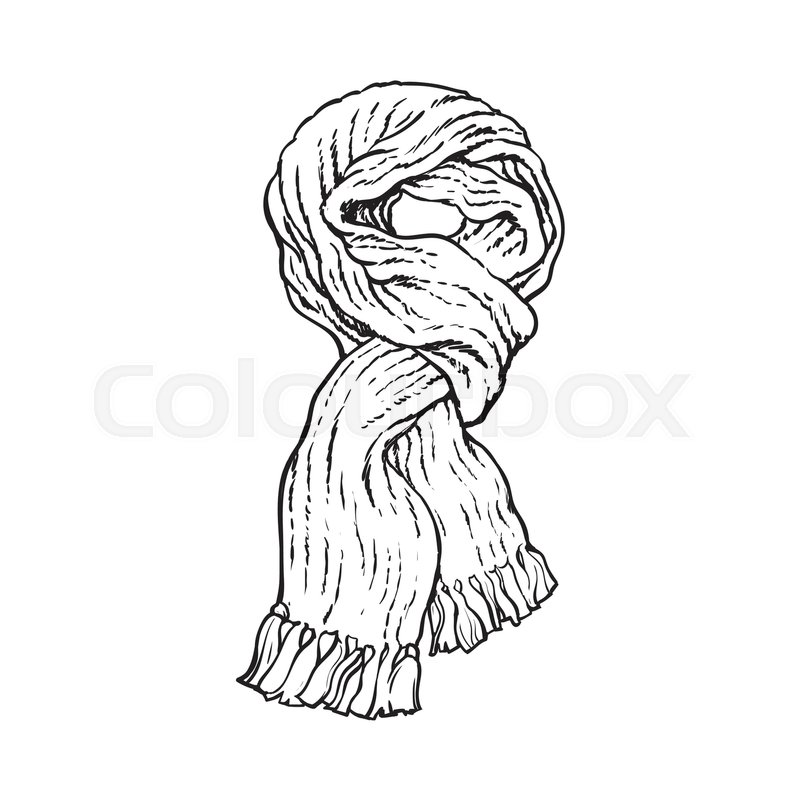 800x800 Bright Slip Knotted Winter Knitted Scarf With Tassels, Sketch