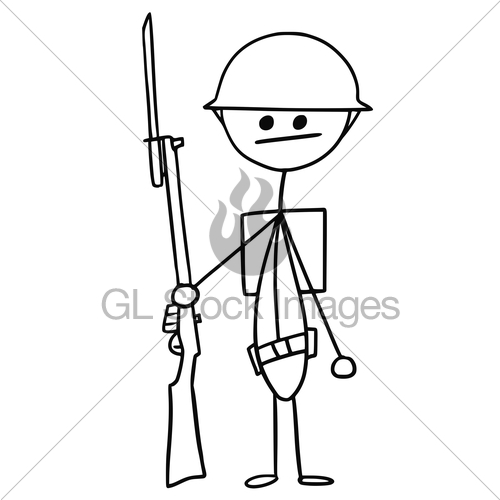 500x500 Vector Stickman Cartoon Of British Ww1 Wwi Soldier Gl Stock Images