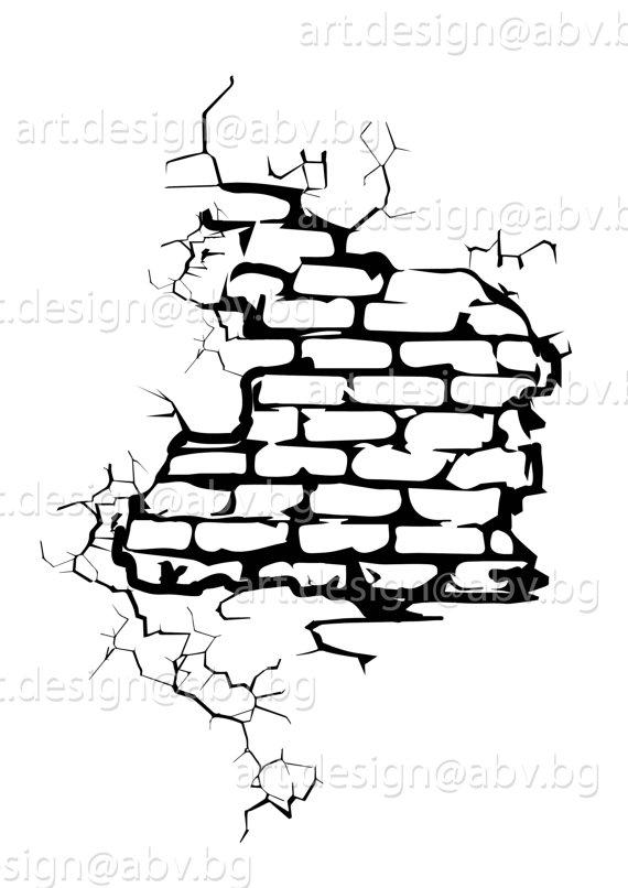 570x806 Cracked Brick Wall Clipart