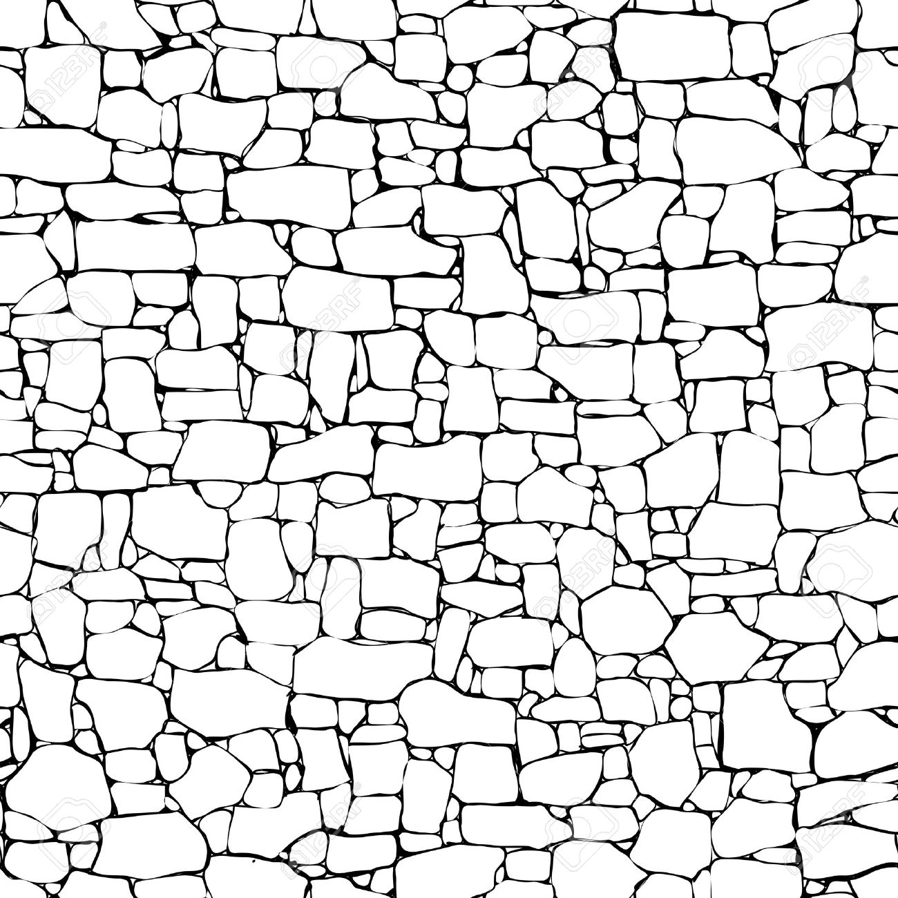 1300x1300 Seamless Vector Black And White Background Of Stone Wall Ancient