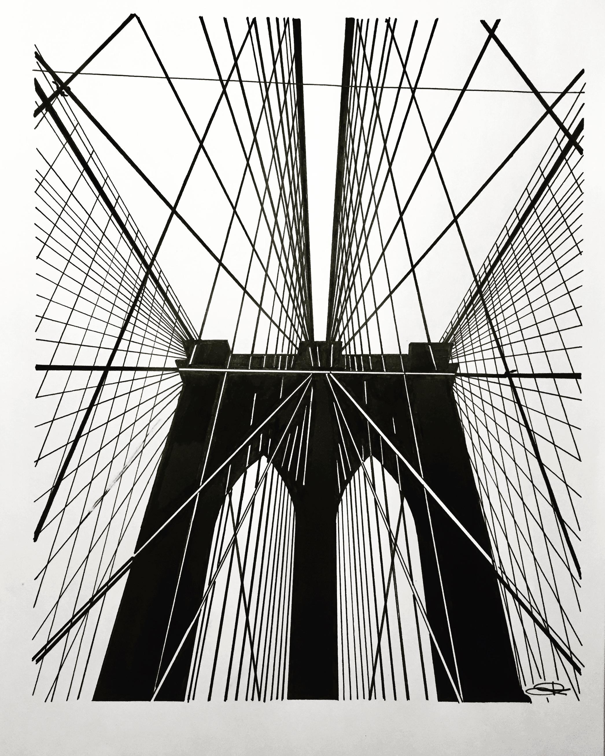 2092x2615 Brooklyn Bridge New York Bocetos Para Espejo