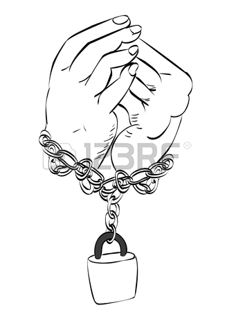 338x450 Gray Metal Chains With Shackles On Hands Silhouette White