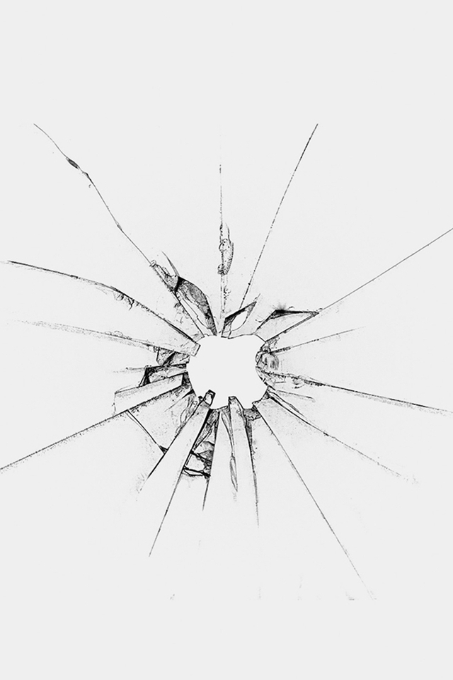 640x960 Apple Llogo Window Broken Glass White