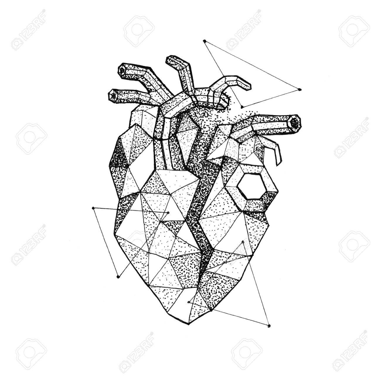 1300x1300 Polygonal Broken Heart Dotwork. Raster Illustration Of Hipster