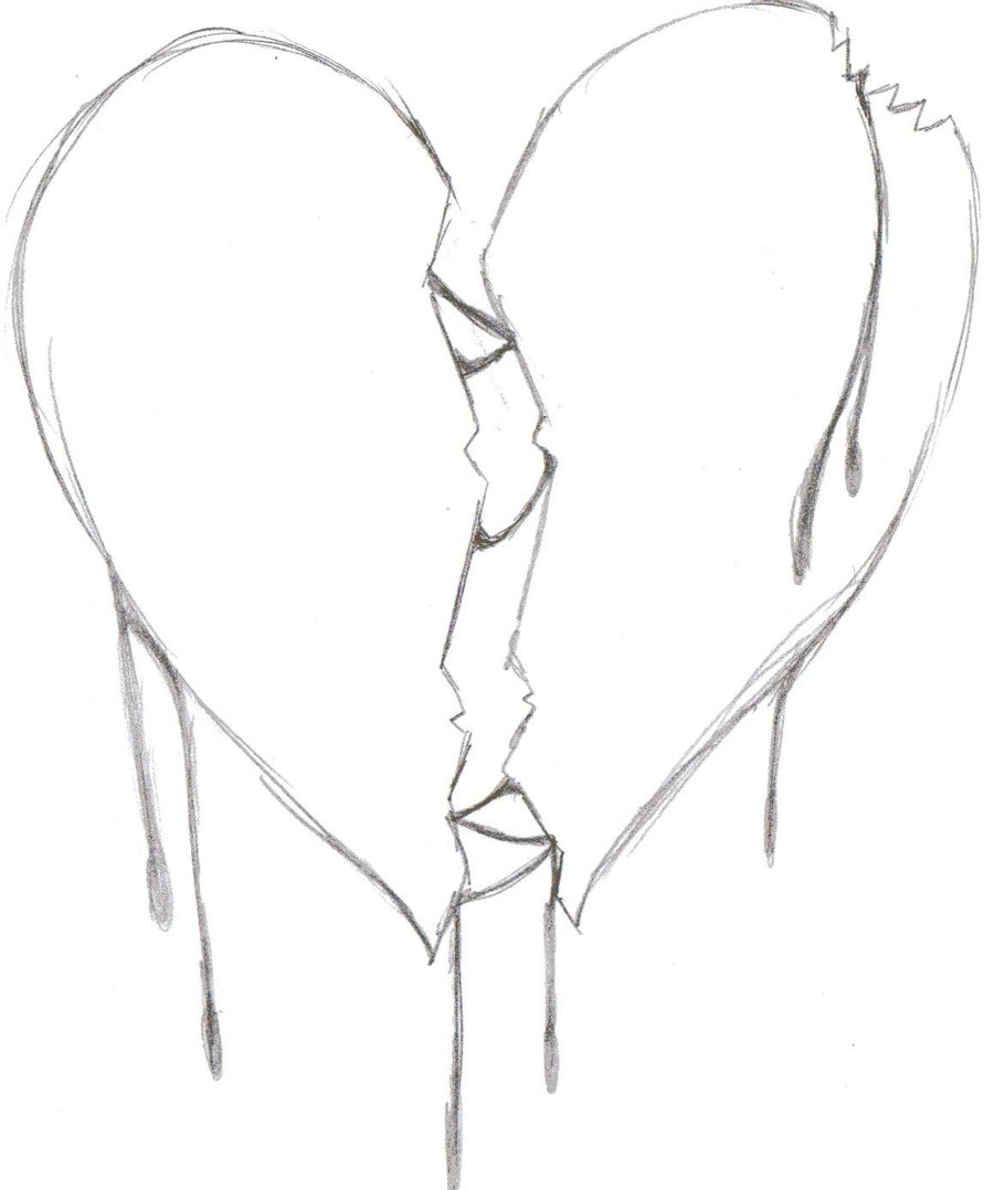 900x1078 Drawn Broken Heart Coloring Page