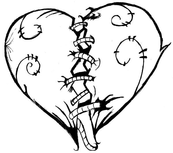 600x532 Easy Broken Heart Drawings Images