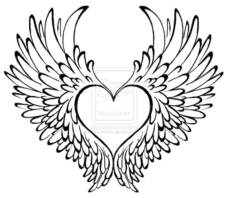 961x832 Pencil Drawings Of Hearts With Wing Broken Emo Hearts With Wings