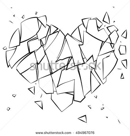 450x470 Broken Heart Coloring Pages