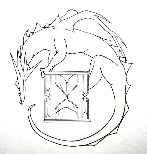 600x626 Black Dragon Hourglass Tattoo Stencil By Typowilliams