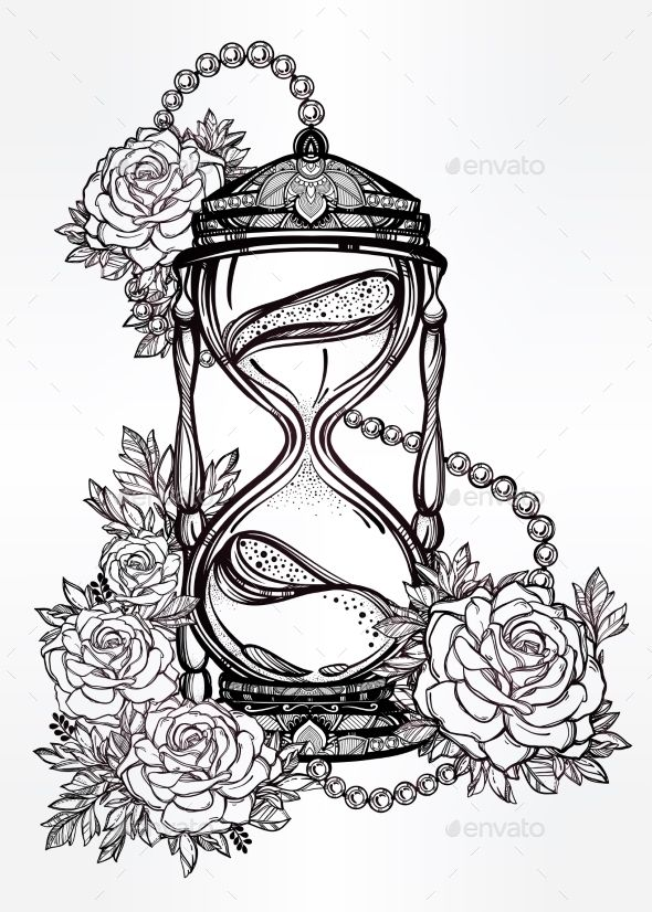 590x826 Hand Drawn Design Of Hourglass With Roses Hourglass, Hand Drawn