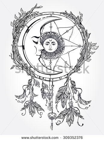 346x470 Hand Drawn Romantic Beautiful Drawing Of A Dream Catcher Adorned