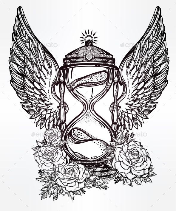 590x708 Romantic Design Of A Winged Hourglass With Roses Hourglass