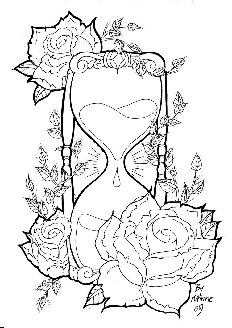 752x1063 Rose Tattoo Designs Hourglass By ~koyasan On Adult