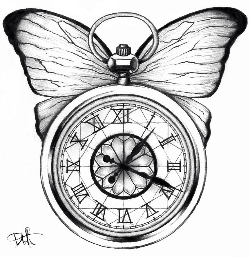 862x886 Pocket Watch Amp Butterfly Tattoo Idea Tattoo