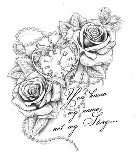 480x566 Roses Heart Clock Saying Ink Clocks, Tattoo